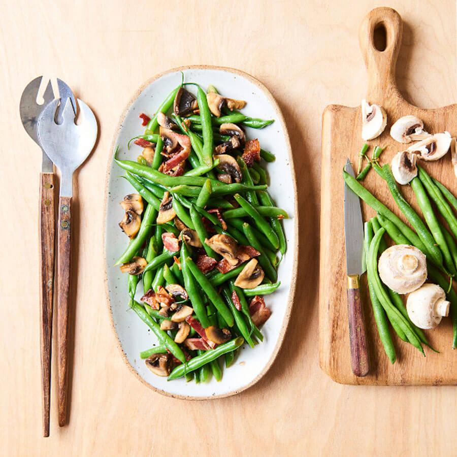 Инстант Пот | Рецепта за Зелен фасул с гъби и бекон