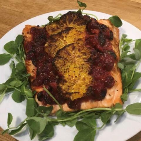 Инстант Вортекс   Рецепта за Запечена сьомга с червени боровинки и портокал в Air Fryer